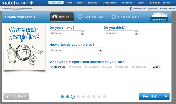Match.com - Smoke, drink, excercise