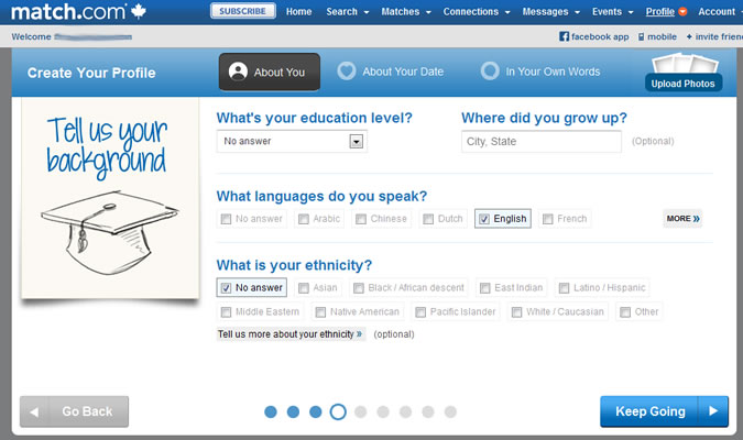 Match.com - Education, languages, ethnicity