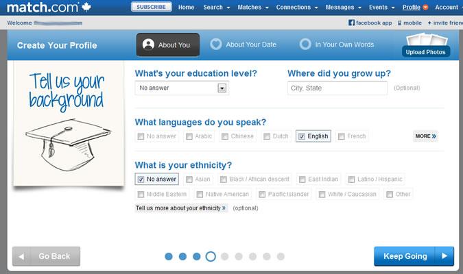 Match.com - Education, languages, ethnicity