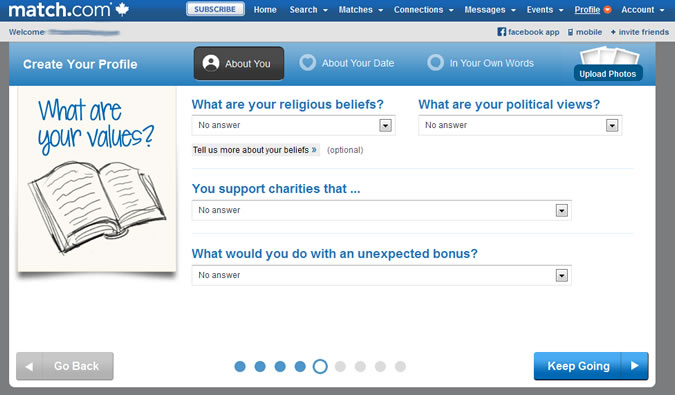 Match.com - Religion, politics, charity