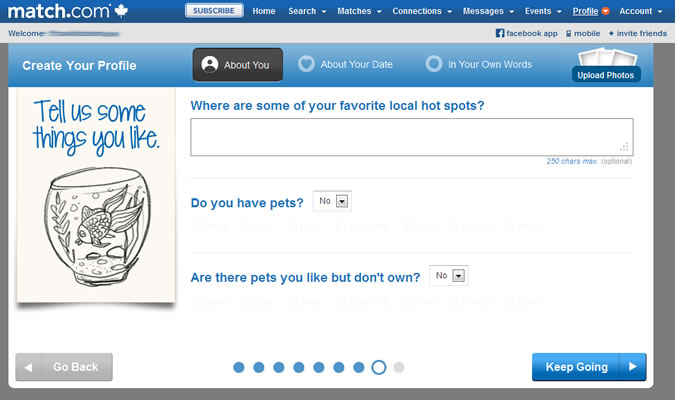 Match.com profile: Local hot spots; pets