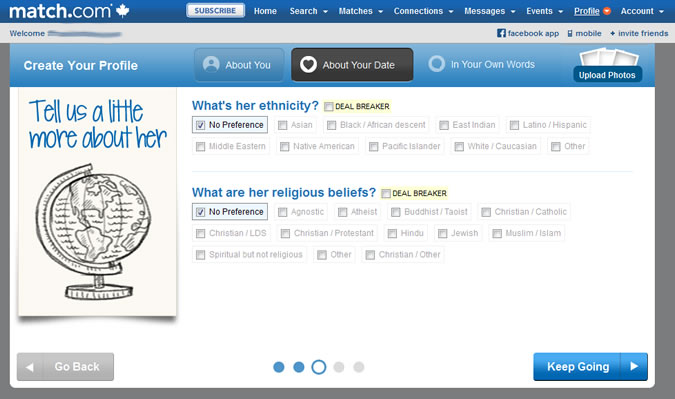 Match.com - About your match: ethnicity and religion