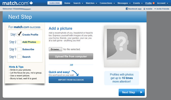 Match.com - Profile photo upload