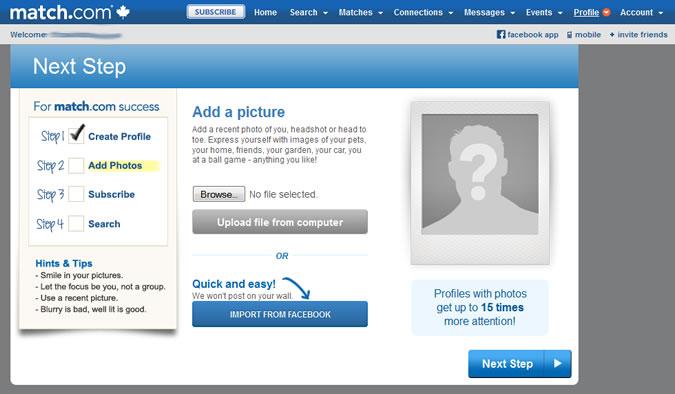 Match.com - Profile photo upload