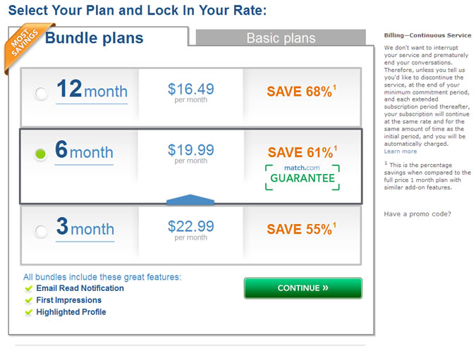Match.com Prices - Bundle plans